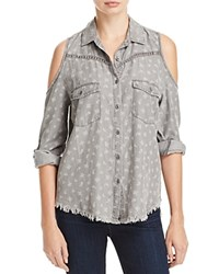 Billy T Cold Shoulder Paisley Print Utility Shirt Gray