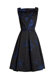 Oscar De La Renta Floral Jacquard Satin Dress Blue Multi