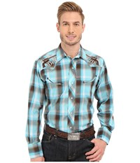 Roper Embroidered 0324 Turquoise Brown Plaid Blue Men's Long Sleeve Button Up