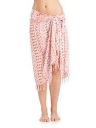 Jules Smith Designs Watercolor Leopard Cotton Sarong White Coral