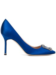 Manolo Blahnik Hangisi Pumps Women Leather Satin Ribbon 36.5 Blue