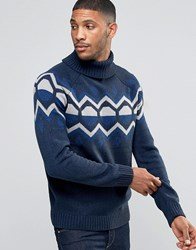 Bellfield Winter Jacquard Geometric Knitted Jumper Navy