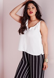 Missguided Plus Size Frill Neck Cami Top White White