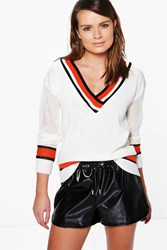Boohoo Sports Stripe V Neck Cricket Jumper Ivory
