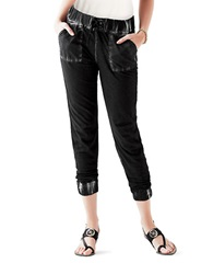 Guess Distressed Cropped Pants Black
