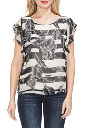 Vince Camuto Flutter Sleeve Tropical Shadows Top Rich Black