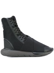 Y 3 Lace Up Panel Rubber Boots Black