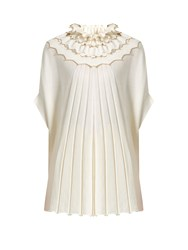 Alex Gore Browne Carnival Ruffle Neck Wool And Cashmere Blend Cape Ivory
