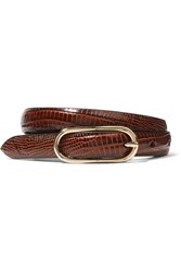 Andersons Anderson's Croc Effect Leather Belt Burgundy