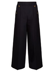 Valentino Wide Leg Cropped Trousers Navy
