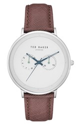 Ted Baker London Brad Multifuntion Leather Strap Watch 42 Mm Light Grey Dark Brown