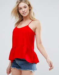 D.Ra Sham Peplum Hem Cami Top Poppy Red