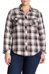 Angie Plaid Tunic Plus Size Brown