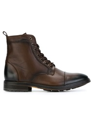 Armani Jeans Lace Up Boots Brown