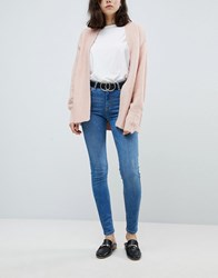 Pieces Mid Rise Skinny Jean Blue