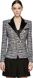 Balmain Black And White Tweed Blazer