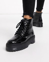 Bronx Leather Chunky Lace Up Boot In Black