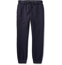 Sacai Tapered Shell Trimmed Cotton Blend Jersey Sweatpants Midnight Blue