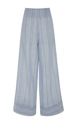 Solid And Striped Wide Leg Pants Blue
