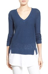 Women's Two By Vince Camuto Poplin Inset V Neck Sweater Navy Dream