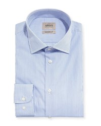 Armani Collezioni Striped Modern Fit Dress Shirt Blue