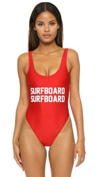 Private Party Surfboard Surfboard One Piece Bathing Suit Red