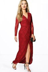 Boohoo Natalie Lace Wrap Front Maxi Dress Wine
