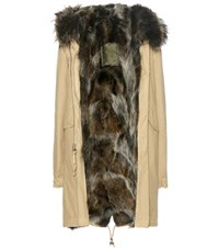 Mr And Mrs Italy Fur Lined Cotton Parka Beige