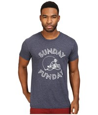The Original Retro Brand Sunday Funday Short Sleeve Tri Blend Tee Streaky Navy Men's T Shirt Blue