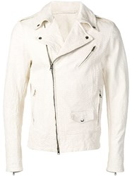 Salvatore Santoro Fitted Biker Jacket White
