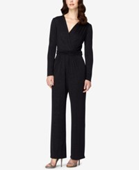 Tahari By Arthur S. Levine Asl Long Sleeve Ruched Glitter Jumpsuit Black