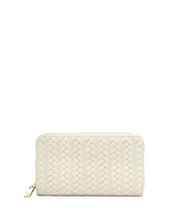 Neiman Marcus Woven Faux Leather Continental Wallet Bone