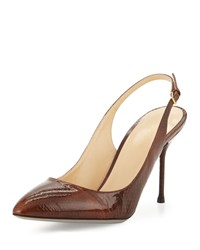Sergio Rossi Patent Leather Slingback Pump Cigar Brown