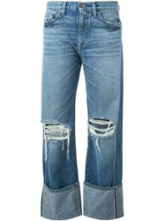 Simon Miller Ripped Wide Leg Jeans Blue