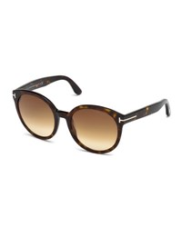 Tom Ford Philippa Round Cat Eye Sunglasses Havana Brown