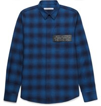 Givenchy Slim Fit Leather Trimmed Checked Cotton Flannel Shirt Blue