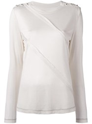 Maison Martin Margiela Diagonal Layer Long Sleeve Top White