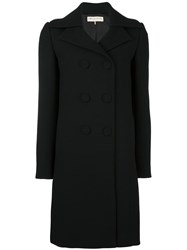 Emilio Pucci Peaked Lapel Double Breasted Coat Black