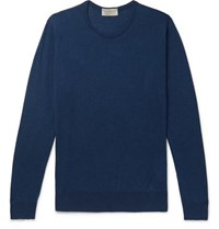 John Smedley Theon Slim Fit Cotton And Cashmere Blend Sweater Indigo