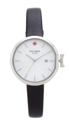 Kate Spade Park Row Leather Watch Black White Stainless Steel
