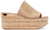 Chloe Beige Leather And Cork Sandals