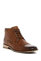 Steve Madden Kaplan Lace Up Leather Boot Dark Tan