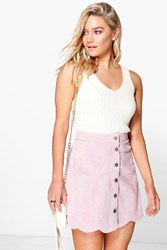 Boohoo Scallop Trim Button Front Cord Mini Violet
