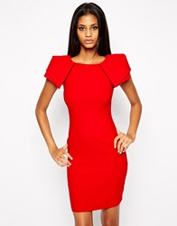 Vesper Sexy Pencil Dress With Origami Sleeve Red