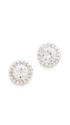 Kenneth Jay Lane Round Pave Stud Earrings Clear
