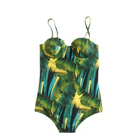 J.Crew Jungle Print Underwire One Piece Swimsuit Green Yellow Multi