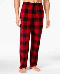 Perry Ellis Men's Plaid Fleece Pajama Pants Red Black