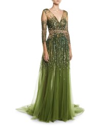 Pamella Roland Long Sleeve Sequined Illusion Gown Sage