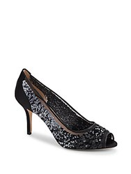 Oscar De La Renta Transpa Sequin Embellished Sandals Black