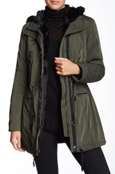 Andrew Marc New York Faux Fur Lined Water Resistant Jacket Green